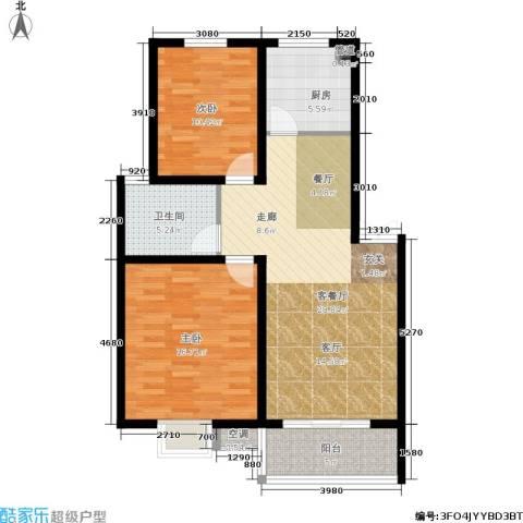 旺运花园2室1厅1卫1厨83.00㎡户型图