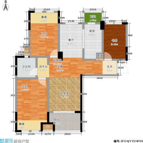 橡树城3室0厅1卫1厨102.00㎡户型图