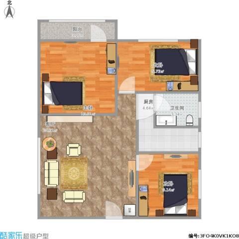 海涛花园3室1厅1卫1厨91.00㎡户型图