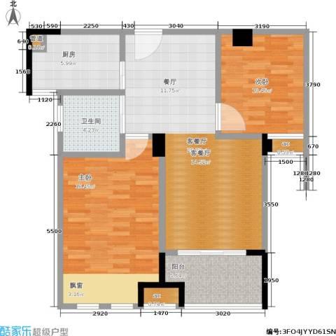 橡树城2室1厅1卫1厨83.00㎡户型图