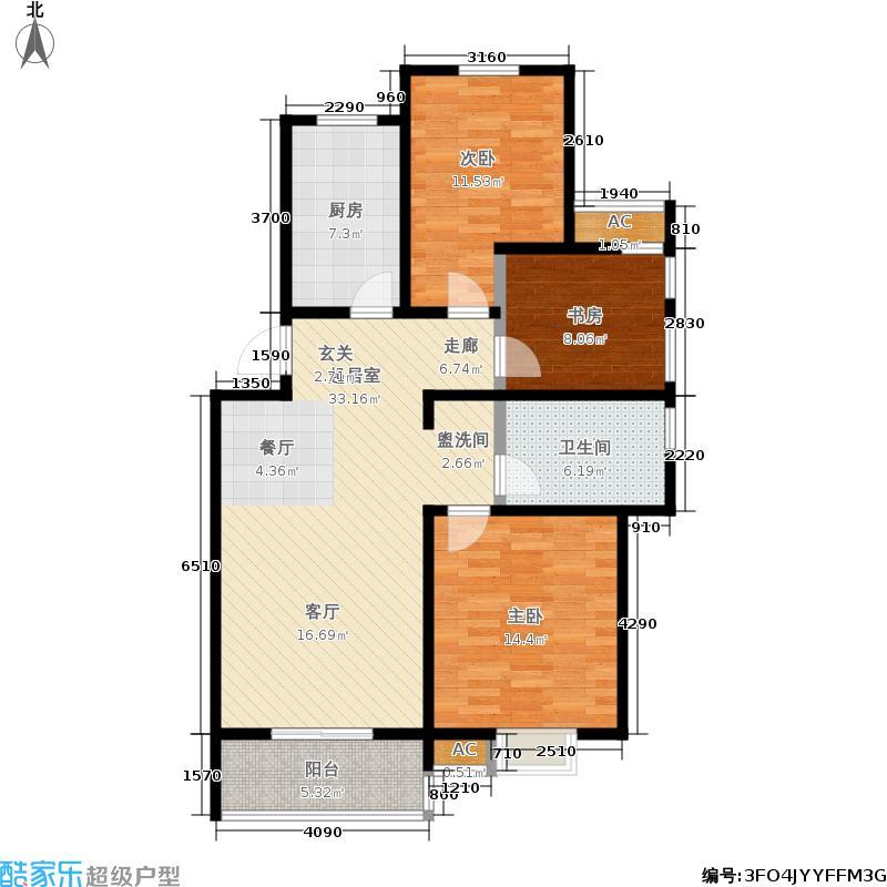 景湖名都99.17㎡二期5、7、8号楼标准层B户型