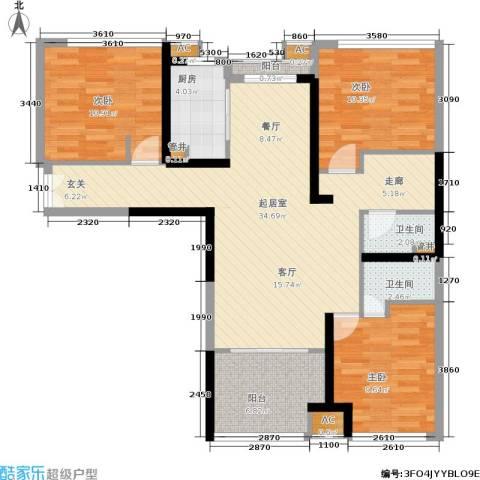 石林中心城3室0厅2卫1厨96.00㎡户型图