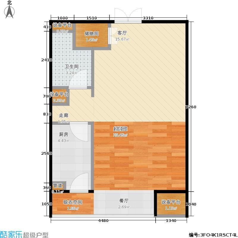 玉泉新城59.64㎡B8号楼B8-1-X02户型1室1厅