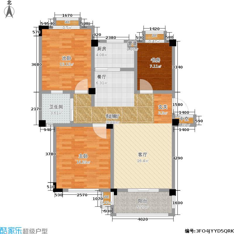 恒建金陵美域91.56㎡二期4号楼标准层C户型