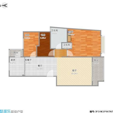 中星长岛苑3室1厅2卫1厨109.00㎡户型图