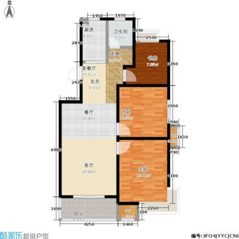 百利广场3室1厅1卫1厨101.00㎡户型图