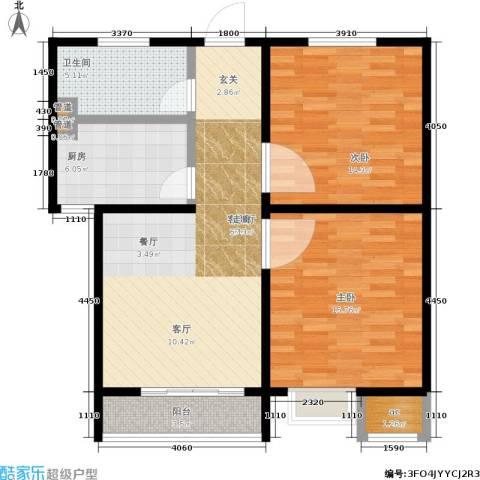 百利广场2室1厅1卫1厨78.00㎡户型图