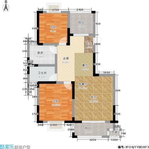 龙海骏景2室1厅1卫1厨90.00㎡户型图