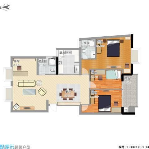 阅城国际花园3室1厅2卫1厨144.00㎡户型图