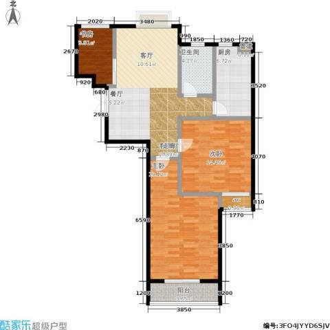 百利广场3室1厅1卫1厨88.00㎡户型图