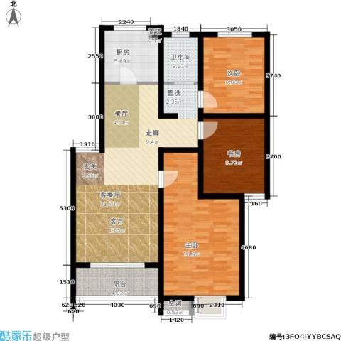 旺运花园3室1厅1卫1厨98.00㎡户型图