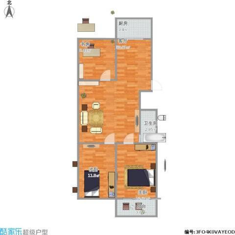 银轮花园3室1厅1卫1厨99.00㎡户型图