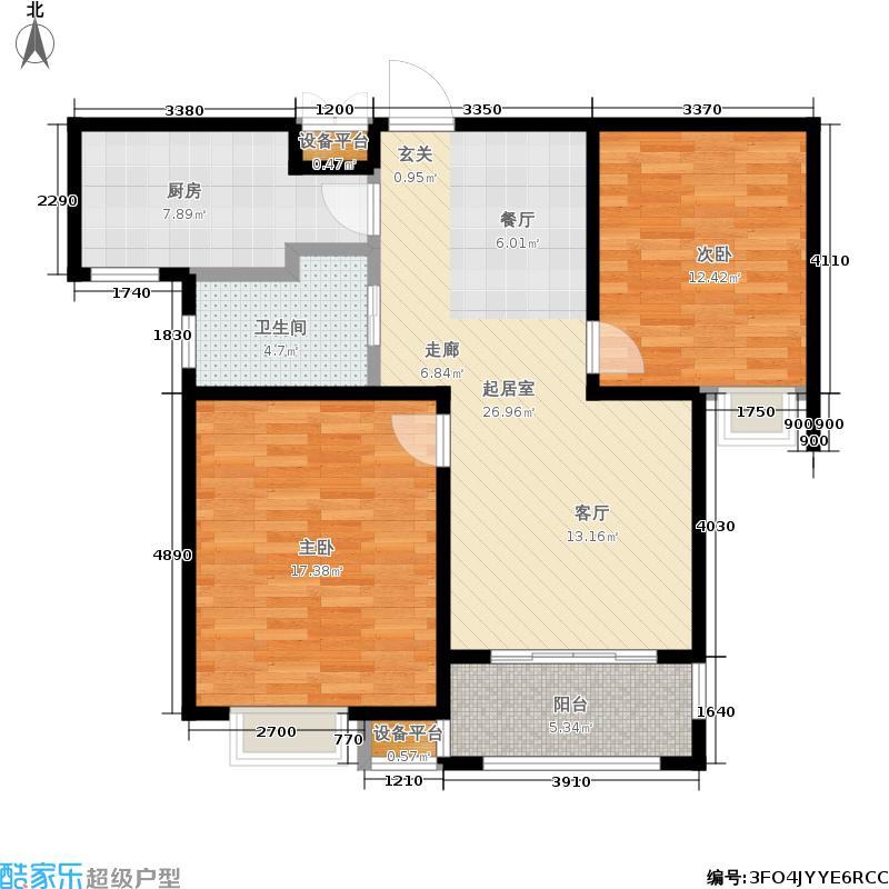 牧龙湖壹号85.55㎡8#9#楼标准层C户型