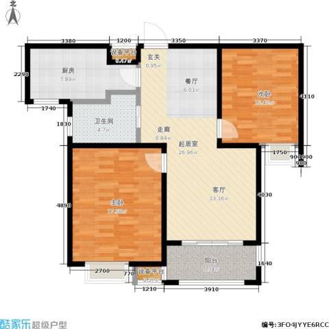 牧龙湖壹号2室0厅1卫1厨86.00㎡户型图