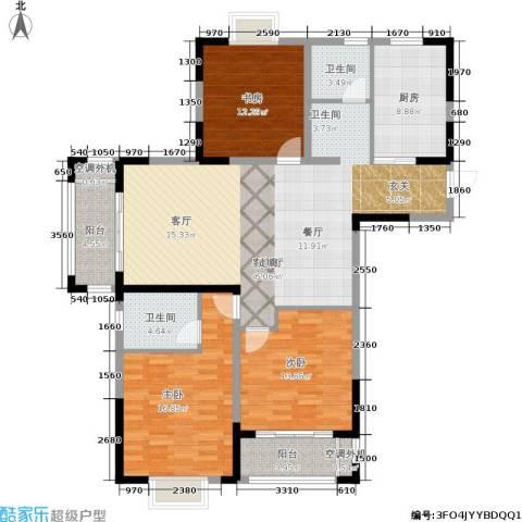 龙海骏景3室1厅2卫1厨128.00㎡户型图