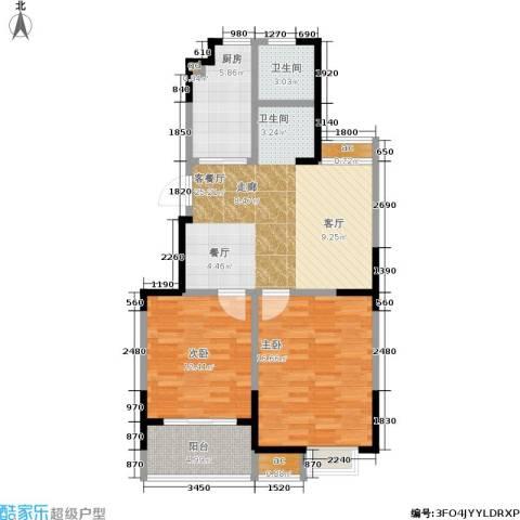 百丽明珠花园2室1厅1卫1厨79.00㎡户型图