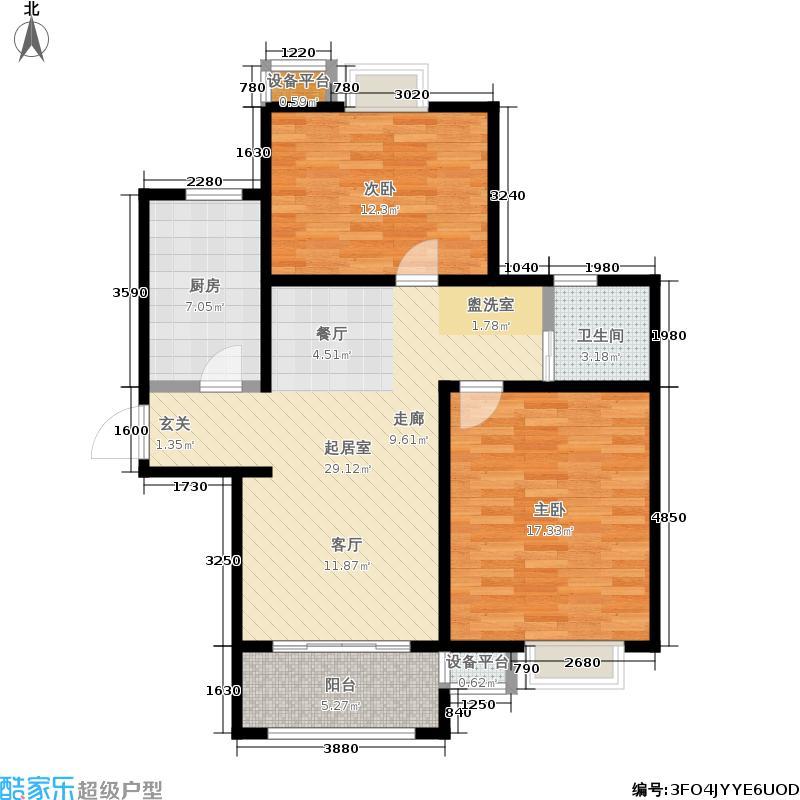 牧龙湖壹号85.25㎡8#9#楼标准层B户型