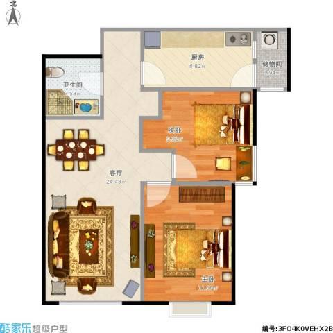 北京夏都湾2室1厅1卫1厨78.00㎡户型图