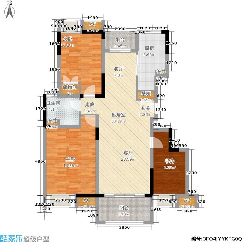 大发燕澜湾108.59㎡一期1-2号楼标准层B户型