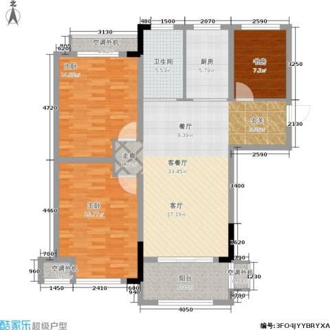 天淳江南3室1厅1卫1厨106.00㎡户型图