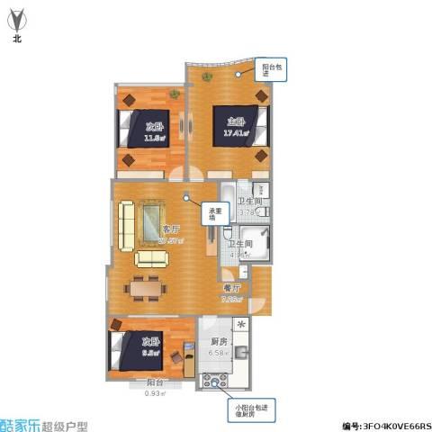 和平小区3室1厅2卫1厨109.00㎡户型图