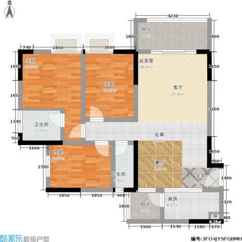 宝嘉花与山3室0厅2卫1厨109.00㎡户型图