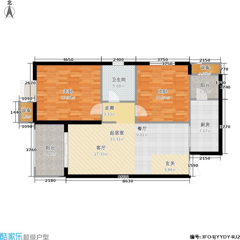 恒盛金陵湾102.00㎡三期5号楼标准层A户型