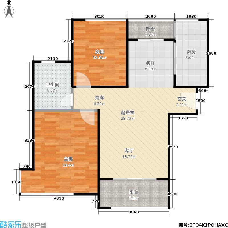 贝尚湾88.00㎡二期D-1户型2室2厅