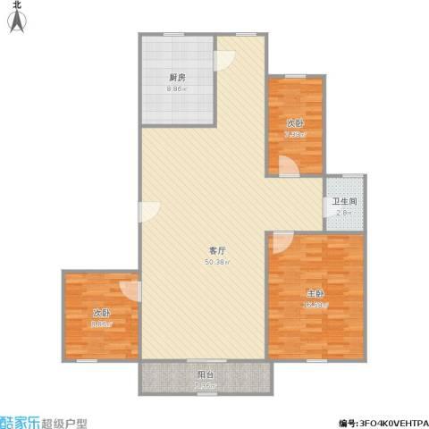 欧风家园3室1厅1卫1厨133.00㎡户型图
