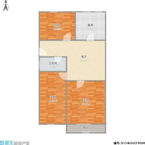 吉浦路615弄小区3室1厅1卫1厨102.00㎡户型图