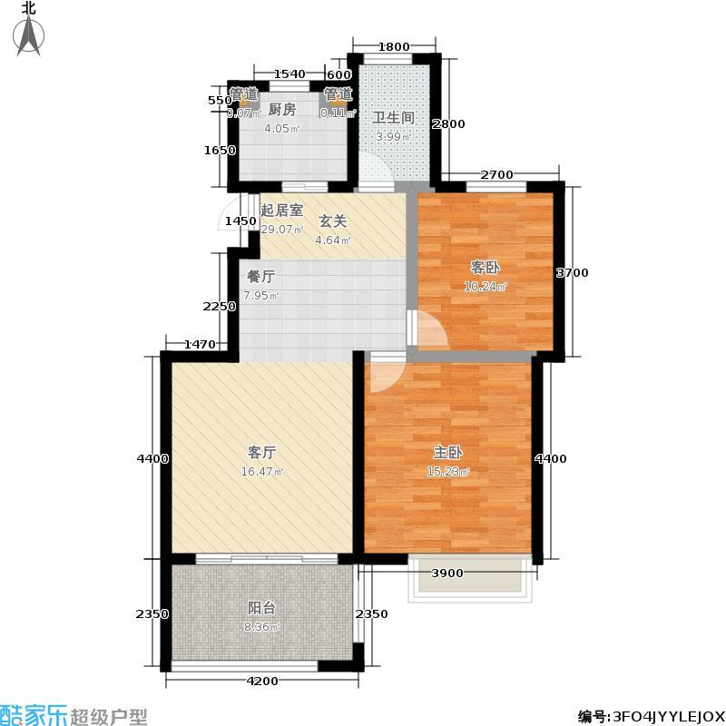 翠屏托乐嘉90.88㎡贵邻居组团E01#楼标准层F户型