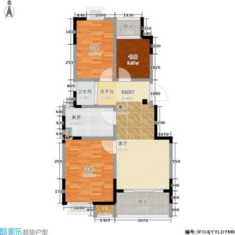 百丽明珠花园3室1厅1卫1厨87.00㎡户型图