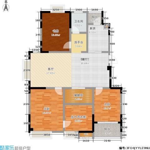 百丽明珠花园3室1厅1卫1厨121.00㎡户型图