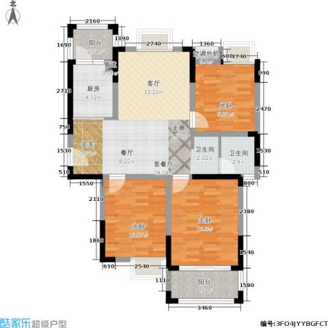 龙海骏景3室1厅1卫1厨89.00㎡户型图