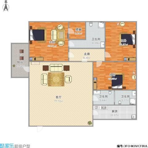 齐鲁世纪园3室1厅3卫1厨278.00㎡户型图