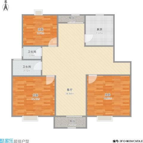 沧海绿苑3室1厅2卫1厨121.00㎡户型图