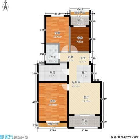 牧龙湖壹号3室0厅1卫1厨95.00㎡户型图