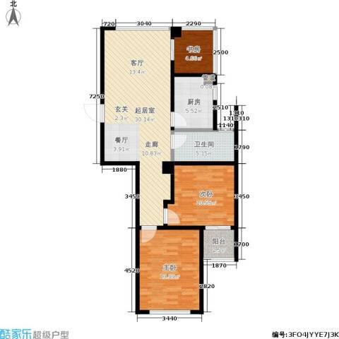 翠屏诚园3室0厅1卫1厨83.00㎡户型图