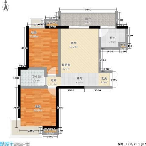 硚房翰林珑城2室0厅1卫1厨87.00㎡户型图