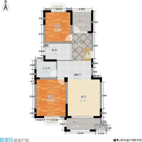 龙海骏景2室1厅1卫1厨92.00㎡户型图