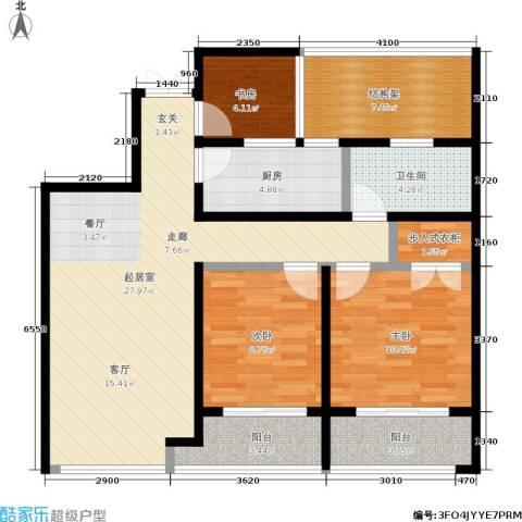翠屏诚园3室0厅1卫1厨89.00㎡户型图