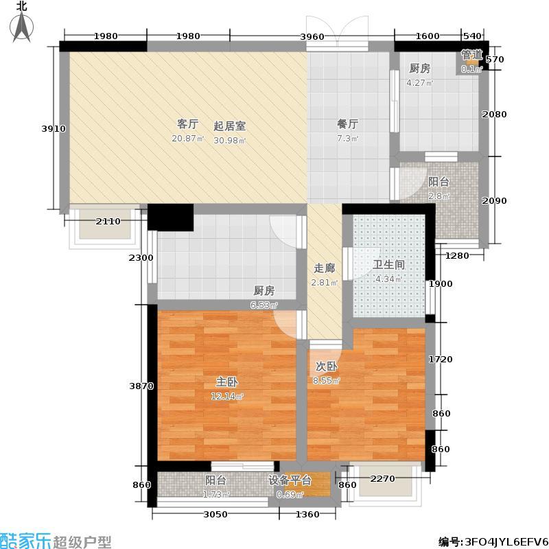 硚房翰林珑城88.46㎡�房翰林珑城1#楼C2户型