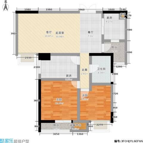 硚房翰林珑城2室0厅1卫2厨88.00㎡户型图