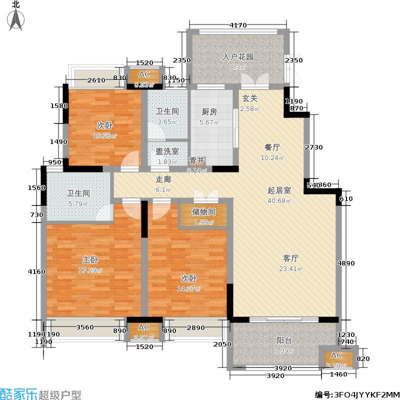 大发燕澜湾137.99㎡一期5-6号楼标准层E户型