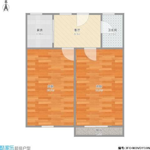 上南十村2室1厅1卫1厨58.00㎡户型图