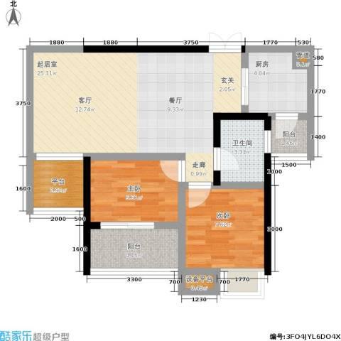 硚房翰林珑城2室0厅1卫1厨80.00㎡户型图