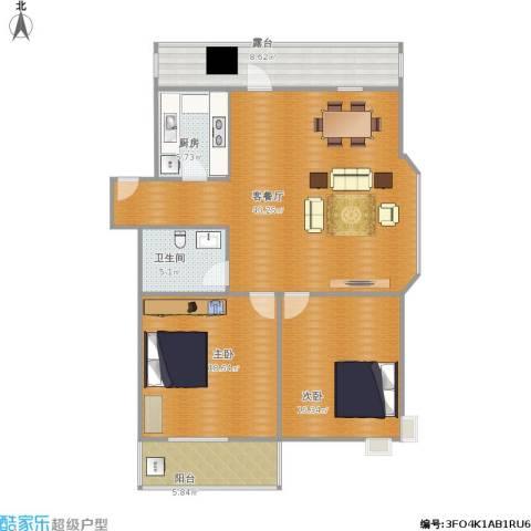 泉印兰亭2室1厅1卫1厨135.00㎡户型图