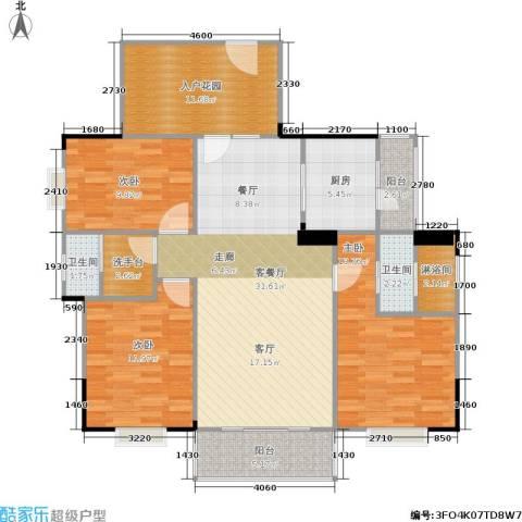 南国明珠3室1厅2卫1厨125.00㎡户型图