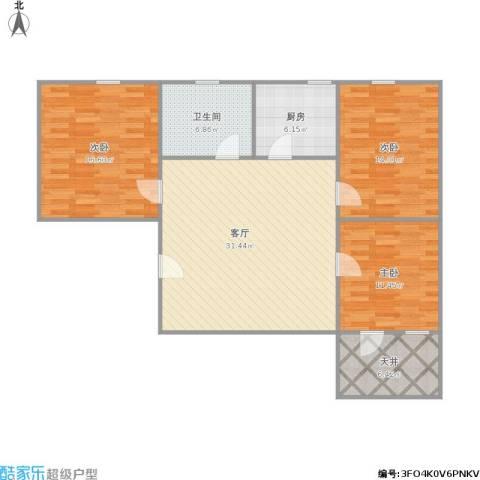真北一街坊3室1厅1卫1厨124.00㎡户型图