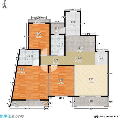 南国明珠3室1厅2卫1厨132.00㎡户型图